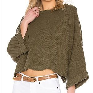 Free people oversized cropped sweater moss green